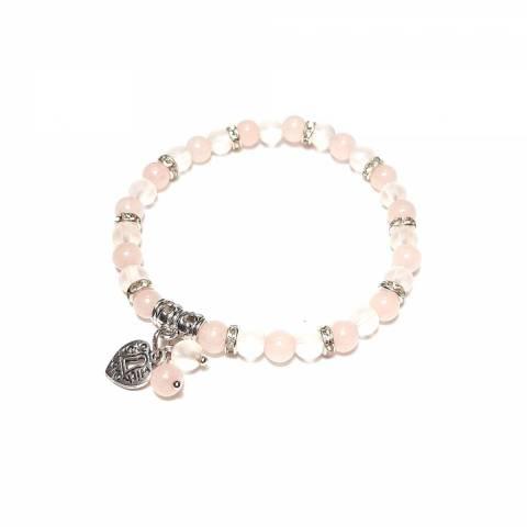 Купить браслет из натурального камня розовый кварц и горный хрусталь, цена Киев Украина. Браслеты из натуральных камней розовый кварц, в интернет магазине украшений Darsana