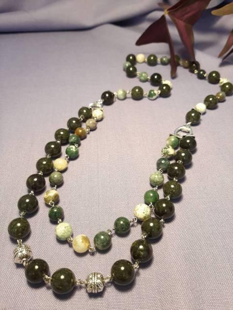 Купить ожерелье из натурального камня яшма моховая, змеевик, цена Киев Украина. Украшения из натуральных камней яшма моховая, змеевик, в интернет магазине украшений Darsana