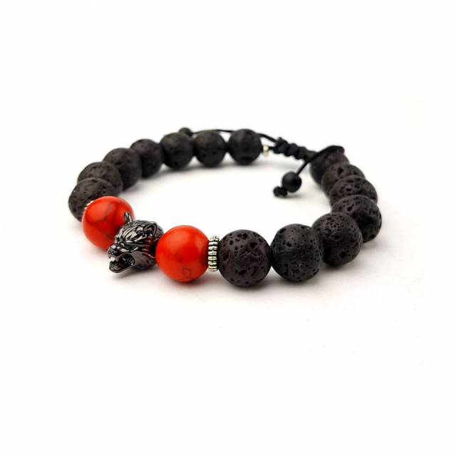 Купить Браслет из натурального камня лава, цена Киев Украина. Браслеты из натуральных камней лава в интернет магазине украшений Darsana
