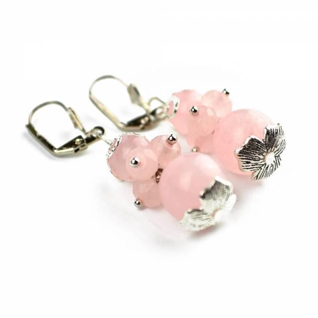 Купить серьги из натурального камня розовый кварц, цена Киев Украина. Серьги из натуральных камней розовый кварц, в интернет магазине украшений Darsana